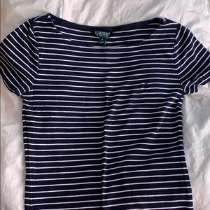 blue and white stripped Ralph Lauren t-shirt